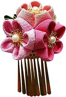CRB Fashion Womens Girls Japanese Kimono Flower Hair Tie Band Clip (Pink Pink (P))