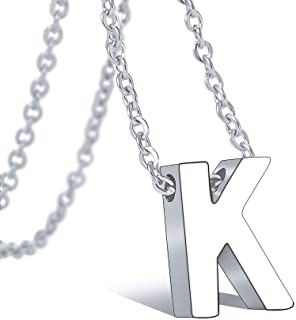 """Bala Alphabet Monogram Initial Letter Necklace 316L Stainless Steel for Girls Women Teens Silver Gold Script Wedding Name Jewelry Adjustable Chain 18""""+2"""""""