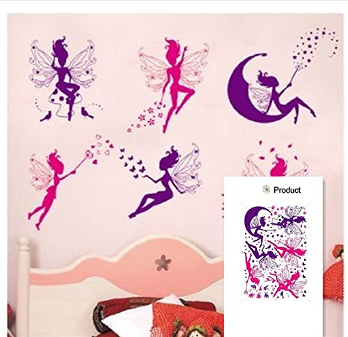6 Stück Rosa Lila Fee Silhouette Engel Wandaufkleber Aufkleber Lila Rot Home Aufkleber Wandbild Abnehmbare New Style Vinyl Art