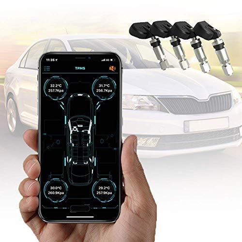 CONRAL Sistema Inteligente Control presión neumáticos aplicación Bluetootn, Monitor TPMS inalámbrico con 4 enchufes sensores externos, Alarma presión/Temperatura/Fugas, para Android y iPhone