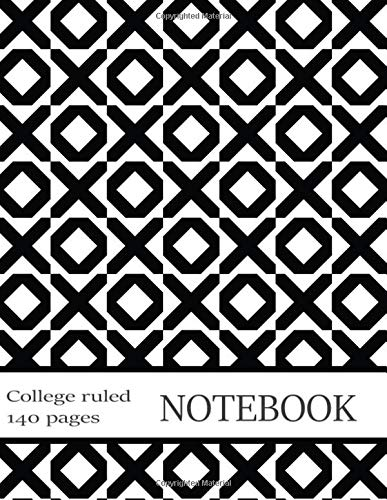College-Ruled Notebook: Bold Graphic Black&White Composition Book. Paper Pad Pack with Margins, Classes Schedule, Metric Conversion Chart. 140 Pages. 8.5x11 in (19)
