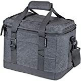 CleverMade Collapsible Soft Cooler Bag Tote - Insulated 30 Can Leakproof Small Cooler Box with Bottle Opener and Shoulder Strap for Lunch, Beach, and Picnic - Grey