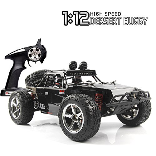 SZJJX RC Car, 1/12 Scale 4WD High Speed Vehicle 35MPH+ 2.4Ghz Radio Remote Control Truck with LED Light Vision - Black