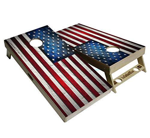BackYardGamesUSA American Flag Series - Premium Cornhole Boards w Cupholders and a Handle - Includes 2 Regulation 4' x 2' Cornhole Boards w Premium Birch Plywood and 8 Cornhole Bags (American Flag)