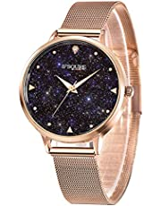S2SQURE 腕時計 レディース 星 日本製クオーツ おしゃれ 女性 ステンレス ウォッチ ローズゴールド 夜光