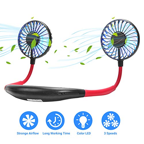 Hands-Free USB Personal Neck Fan, Portable Mini Headphone Design Neck Fan, 7-Color LED, with Aromatherapy, 3-Speed, 360-Degree Free Rotation for Home, Office and Travel (Black)