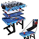 hj Table Multi Jeux 5 en 1 Pliante-Billard/Babyfoot/Hockey/Tennis de Table/Basketball...