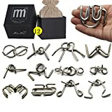 Intermediate Difficulty -12 Pieces Thicker Metal Wire Brain Teaser - Assembly & Disentanglement Puzzles Toys - Magic Trick Toys Puzzles Set - Ideal Gifts Kids Adults (12 Pieces Set Thick)