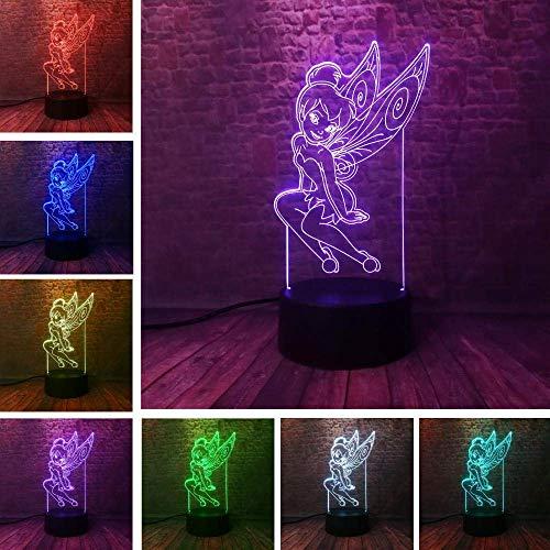 Lámpara de ilusión 3D Luz de noche Led Raro Peter Pan Fairy Copo de nieve Tinkerbell Princess 7 Cambio de color Sleeping Kid Regalo de Navidad