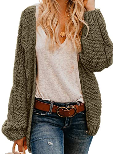 This solid loose cardigan sweater is formed from chunky knits like cable knitted, ribbed, and pointelle to create an open front cardigan with long sleeves. This sweater cardigans go-to piece boasts raglan long sleeves, partner with a pair of your fav...