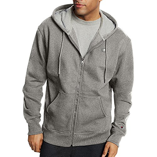 Champion Men's Powerblend Fleece Full Zip Jacket_Oxford Grey_XL