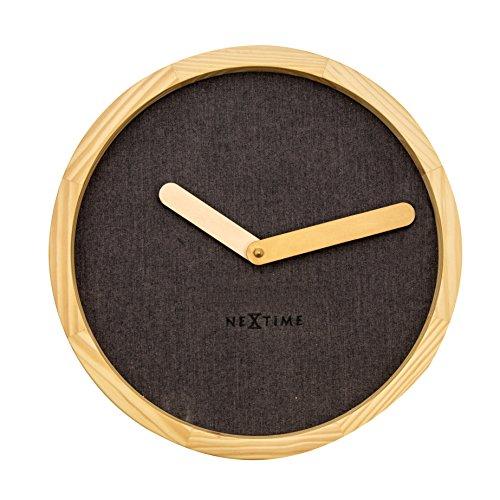 NeXtime CALM Wandklok, geruisloos, rond, hout, bruin, ø 30 cm