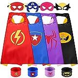 Sinoeem Capas de Superhéroes para Niños - 4 Capa y 4 Máscaras y 4 Slap Pulseras - Ideas Kit de Navidad de Cumpleaños de Fiesta de Cosplay de Diseño de Valor - Juguetes para Niños y Niñas