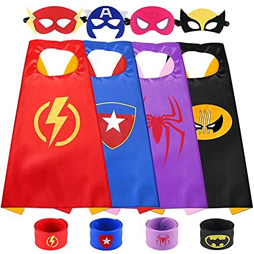 Sinoeem Capas de Superhéroes para Niños - 4 Capa y 4 Máscaras y 4 Slap Pulseras - Ideas Kit de...