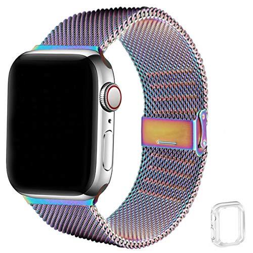 WFEAGL コンパチブル apple watch バンド, コンパチブルiWatch通用ベルト apple watch series 6/5/4/3/2/1,SEに対応 交換ベルトステンレス製 (42mm 44mm, カラフル)