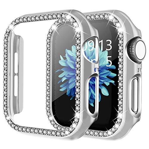 ZHONGGOZZ Para Apple Watch 6 SE Funda de 44 mm 40 mm Series 5 4 Bling Rhinestone Completo Alrededor de los Estuches para PC para iWatch 3 42mm 38mm Funda de Mujer