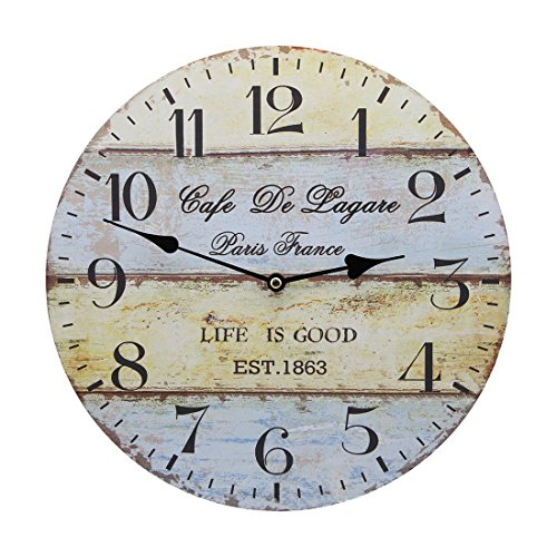 Vintage Reloj de pared madera Nivel múltiple Reloj de pared sin tickge räusche Modern rústico estilo europeo 30cm para salón, dormitorio, c