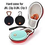Estuche rígido Que transporta la Bolsa de Almacenamiento para JBL Clip 2 Altavoz portátil inalámbrico Bluetooth. Se Adapta al Cable USB - Rosa roja