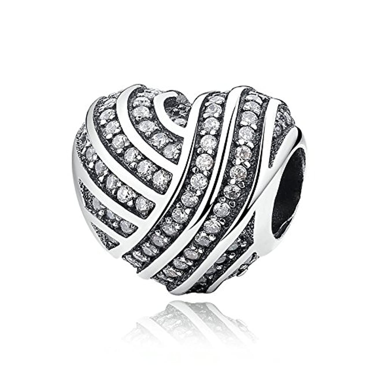 Love Lines Clear CZ 925 Sterling Silver Bead Fits Pandora Charm Bracelet