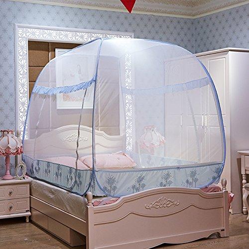 Lily et ses amies –Yourte Mongole Grand lit pliable Mosquito Nets,gratuit d'installation et de pliage,fil d'acier Air Conditioner Moustiquaire,complète en bas,fermeture éclair sur le côté,trois portes