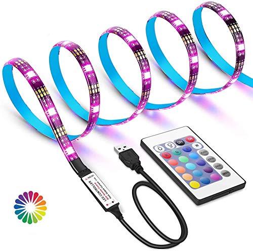 WEKNOWU Tiras LED USB de 2 Metros con Colores RGB, para TV Entre 40 y 60 Pulgadas, con Control Infrarrojo (IR)
