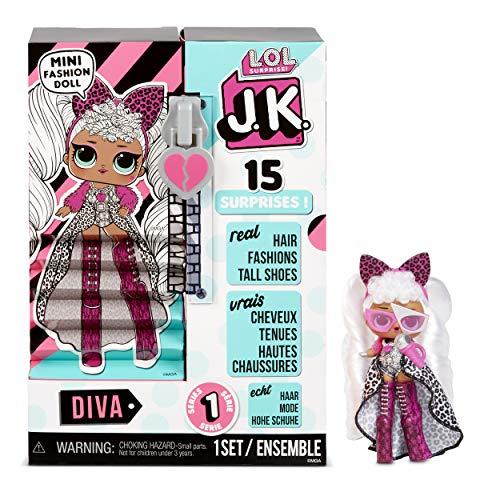 LOL Surprise JK Mini Muñeca de Moda - 15 Sorpresas, Ropa y Accesorios - Para Mayores de 6 Años - Coleccionable - Diva