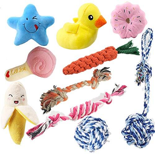 Felly Welpenspielzeug, 10 Pcs Hundespielzeug Set Kauspielzeug Quietschspielzeug Seile Hunde Spielzeug Interaktives Hundespielzeug für Welpen Kleine Hunde für Zahnreinigung Geeignet