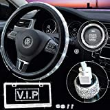 Bling Car Accessories for Women - Diamond Bling Steering Wheel Cover for Women Girls Unive...