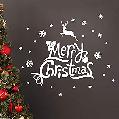 MIARHB New! Christmas Windows Stickers Letter Printed Removable Christmas Elk DIY Wall Home Door Mural Decal Sticker Decorations Art Decor (23.6 × 27.5 Inch, White)