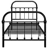 Kshzmoto Estructura de Estructura de Metal Negro Estructura de Cama práctica Familiar, Estructura de Cama de Metal de Estilo Moderno para Dormitorio 213 x 111 x 109 cm