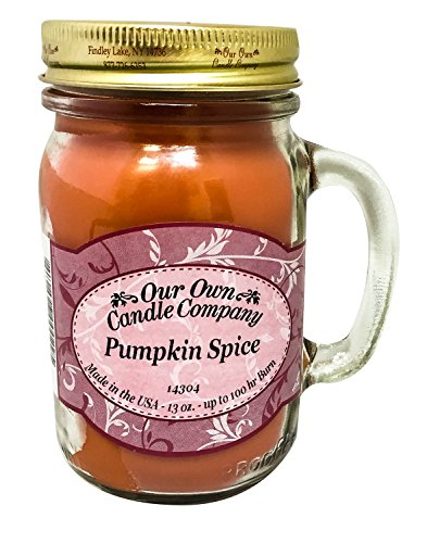 Our Own Candle Company Pumpkin Spice Scented 13 Ounce Mason Jar Candle Company