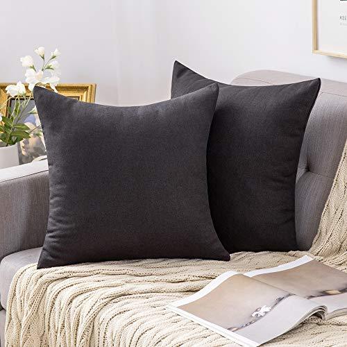 MIULEE 2er Pack Home Dekorative Kissenbezug Kopfkissenbezug Leinen Kiessehülle für Sofa Schlafzimmer mit Reißverschlüsse 40x40 cm Kissenbezüge Schwarz