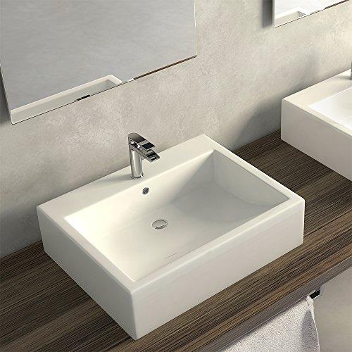 Lavabo sobre encimera blanco rectangular Duna fabricado en cerámica