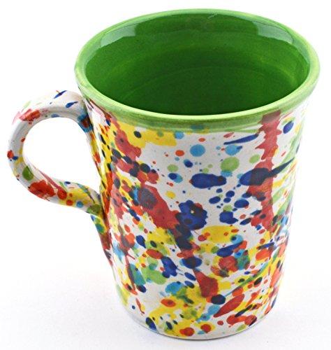 ART ESCUDELLERS Tasse/MUG en céramique Fait et Peint à la Main avec décoration IVANROS Vert. 12 cm x 9 cm x 11 cm