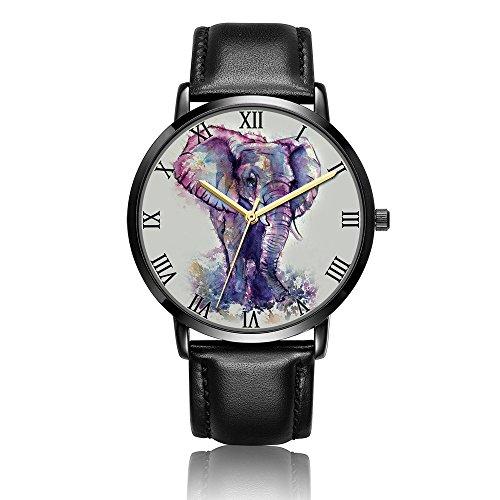 Whiterbunny Customized Watercolor Elephant Purple Wrist Watch Unisex Analog Quartz Fashion PU Leather Bracelet Wristwatch for Women and Men