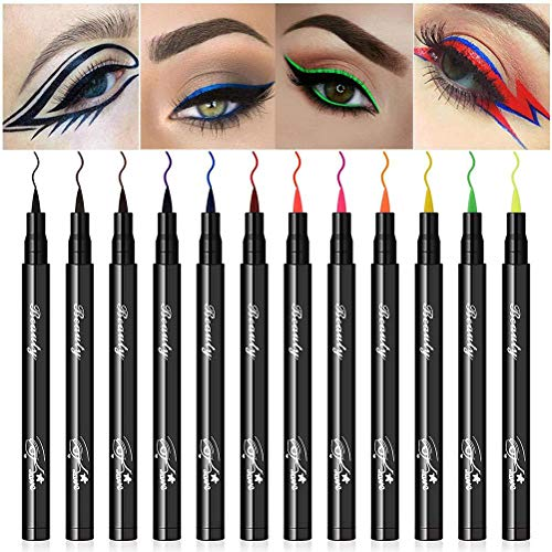 CeFoney 12 Farben Matte Liquid Eyeliner Set Täglich farbige Eyeliner-Stifte Langlebige wasserdichte wischfeste flüssige Eyeliner Bunte magnetische Augenlider