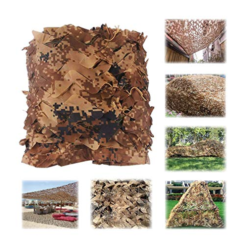 Hunting Camping Brown Camo Net 4 Size Forest Camouflage Net Jungle Leaves For Military Car Shade Cover With Hang Rope (Color : Brown, Size : 3x6m/10x19ft)