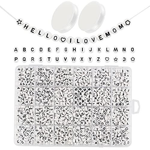 I LOVE MOM Kit Acrilico Lettera Perline per Braccialetti 1150 PCS Alfabeto Rotondo Perline per Phone Beads Giocattolo 'A-Z' Perline Lettere DIY Collane Portachiavi e Gioielli Adulto e Bambino(-1)