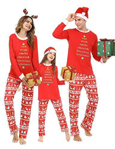 Pollara Pijama de Rayas navideñas para niños Conjunto de Pijama de suéter de Navidad con Cuello Redondo Largo, Camisa de Manga Larga y Pantalones de Pijama Rojo M