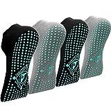 Yoga Socken Anti-Rutsch-Socken (4 Paare) für Damen Pilates, Yoga, Barre, Tanz, Ballett, Kampfsport, Trampolin, Fitness, Krankenhaus, Reha, Heim- und Körperbalance, Sox UK 4-7 / EU 35-40