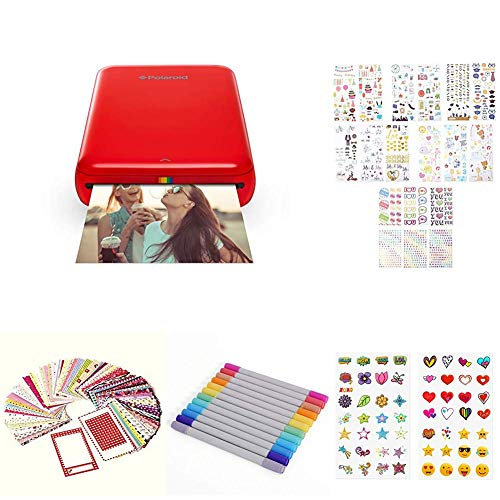 Polaroid ZIP Handydrucker mit ZINK Zero tintenfreier Drucktechnologie Kompatibel mit iOS Androidgeraten Geschenk Bundle Rot