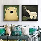 ganlanshu Oso Polar león Marino tríptico Lienzo Pintura Mural habitación Infantil decoración del hogar nórdico Cartel,Pintura sin Marco,70X70cmx2