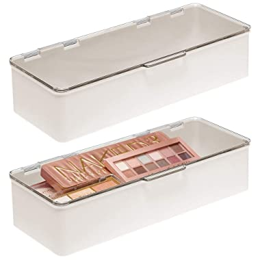 mDesign Makeup Storage Stackable Organizer Box for Bathroom Vanity, Countertops, Drawers - Holds Blenders, Eyeshadow Palettes, Lipstick, Lip Gloss, Makeup Brushes - Hinged Lid - 2 Pack - Cream/Clear