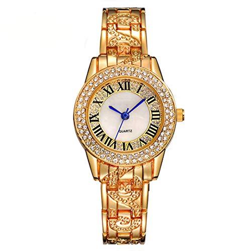CMXUHUI Mujeres Brillantes imitación Diamante números Romanos Relojes Oro y Plata Color Damas Moda Relojes con Relojes Aspecto Exquisito, Elegante y Generoso. (Color : Silver)