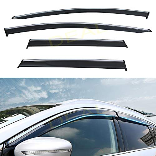 DEAL AUTO ELECTRIC PARTS 4-Piece Set Outside Mount Tape On/Clip On Type Smoke Tinted Sun/Rain Guard Vent Window Visors With Chrome Trim Compatible With 2015-2020 Murano