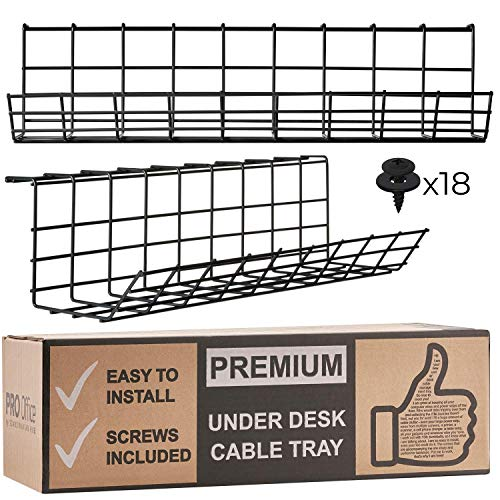 Under Desk Cable Management Tray - Cable Organizer for Wire Management. Metal Wire Cable Tray for Office and Home. Perfect Standing Desk Cable Management (Black Cord Basket - Set of 2X 17'')