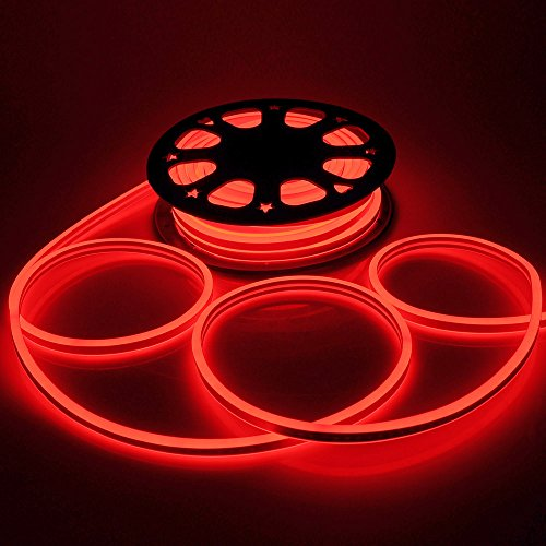 DELight Upgraded 50ft Red Double Sided 1620pcs bulbs LED Flexible Neon Stripe Light for Halloween, Christmas, Party, Wedding, Pool Decor