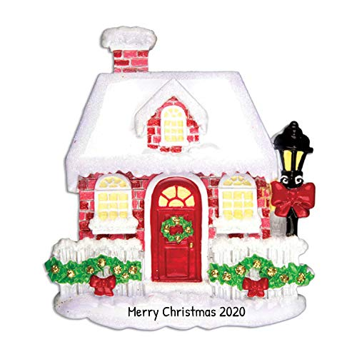 Personalized New Red Brick House Christmas Ornament for Tree 2018 - Our 1st Snowy Home with Street Light - Elegant Front First Family Neighbor Apartment Door Window Ribbon Free Customization by Elves