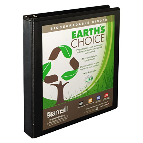 Samsill Earth's Choice Biobased Durable 3 Ring View Binder, 1 Inch Round Ring, Up to 25% Plant Based Plastic, USDA Certified Biobased, Black