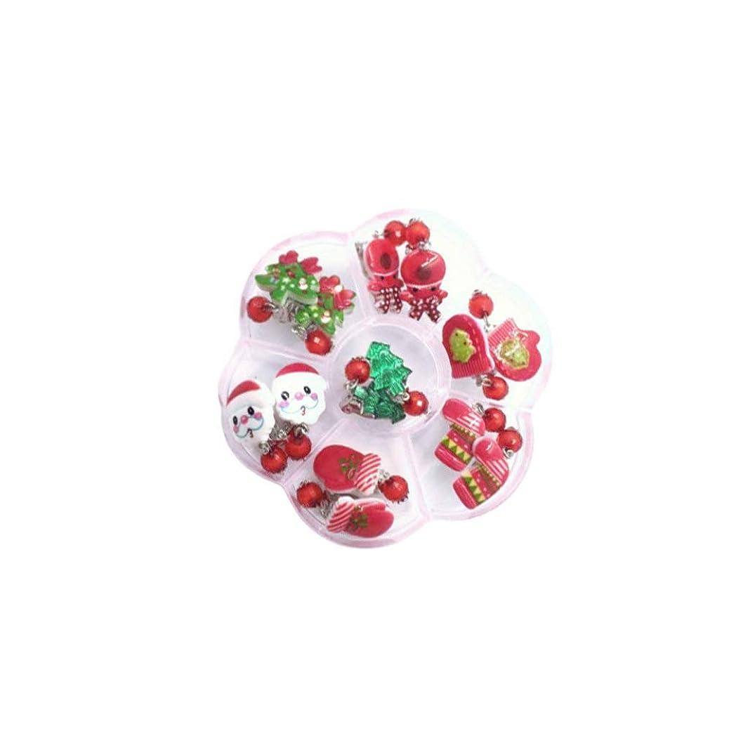 ひねり寛容なさせるNUOBESTY イヤリングの7ペアのクリスマスクリップクリスマスツリーサンタの手袋小さな女の子と女性のための雪だるまイヤリングをストック